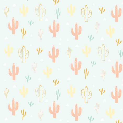 Cactus in Mint fabric by hudsondesigncompany on Spoonflower - custom fabric