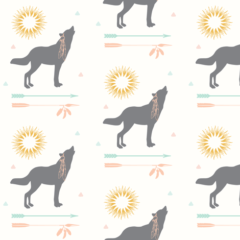 Howling Wolf with Arrows fabric by hudsondesigncompany on Spoonflower - custom fabric