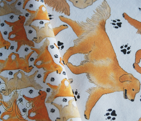 Trotting Golden Retrievers and paw prints - tiny white