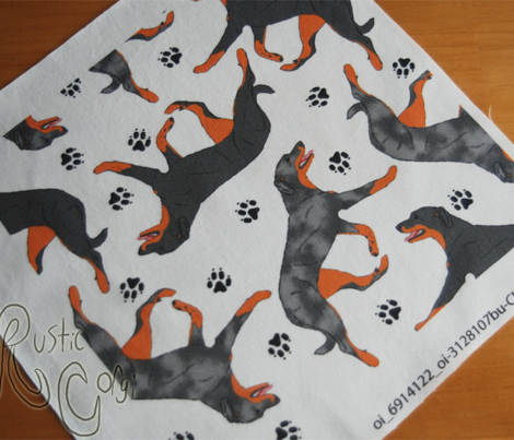 Trotting Beaucerons and paw prints C - white