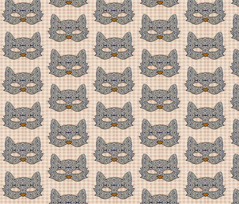 Blue Kitty Cat fabric by novelatelier on Spoonflower - custom fabric