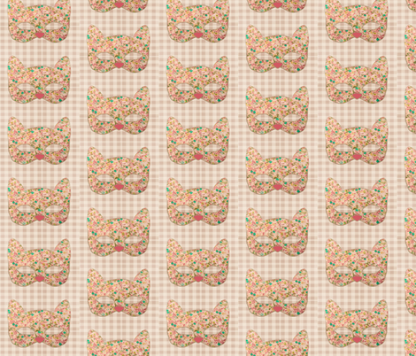 Floral Rose Kitty fabric by novelatelier on Spoonflower - custom fabric
