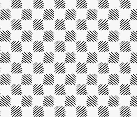 Black marker drawn hatched squares fabric by zebra_finch on Spoonflower - custom fabric