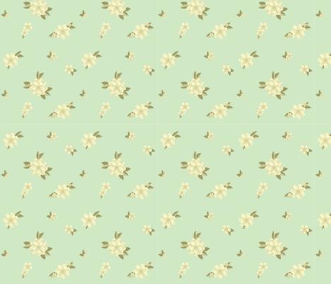 flowers on green fabric by minyanna on Spoonflower - custom fabric