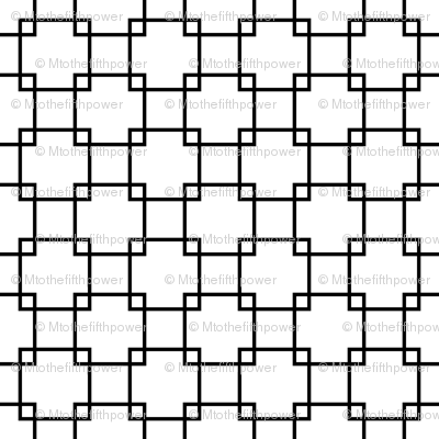 Black Overlapping Squares on White