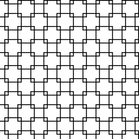 Black Overlapping Squares on White fabric by mtothefifthpower on Spoonflower - custom fabric