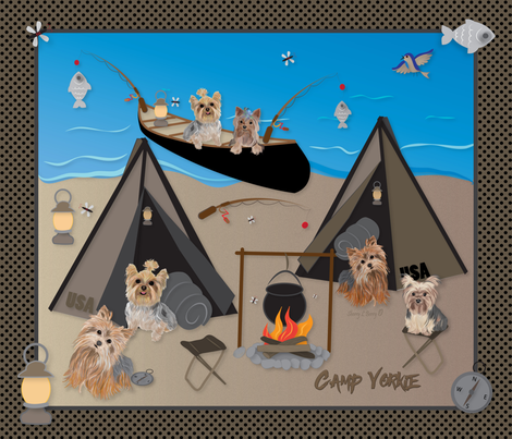 Yorkie - Camping, Fishing and Nature fabric by sherry-savannah on Spoonflower - custom fabric