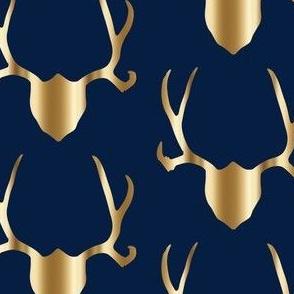 Gold antlers on navy deer antlers longhorns