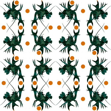 Small_Crayfish_Orange_dots fabric by the_naturalists_daughter on Spoonflower - custom fabric