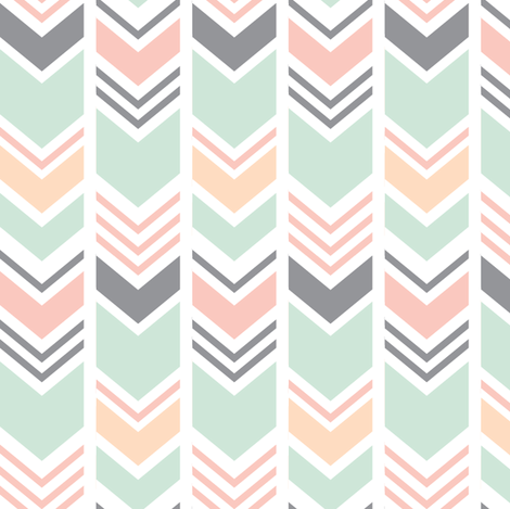 Chevron // Pink/Peach/Mint/Grey fabric by littlearrowdesign on Spoonflower - custom fabric