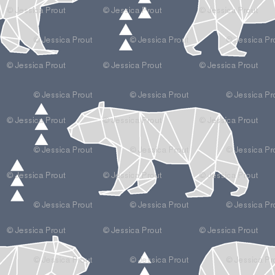 Geometric Bear // dark blue and grey