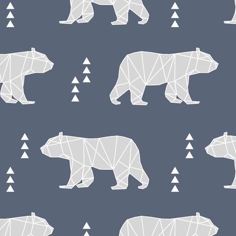 Geometric Bear // dark blue and grey fabric by littlearrowdesign on Spoonflower - custom fabric