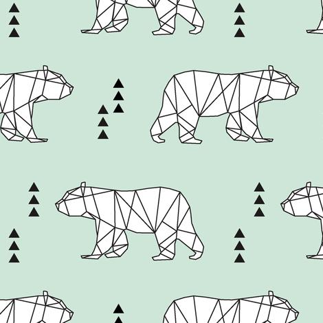 geometric bear // mint fabric by littlearrowdesign on Spoonflower - custom fabric