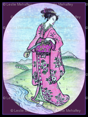 Beautiful Geisha in Oval with Purple background