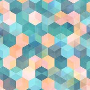 Peach, Teal, Aqua and Pink Watercolor Textured Hexagons