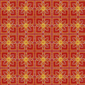 lino print red flower