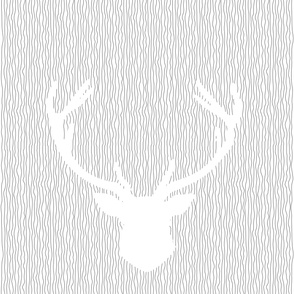 White_Stag_on_stripes for single bedding