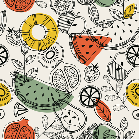 Scandinavian fruits fabric by adehoidar on Spoonflower - custom fabric