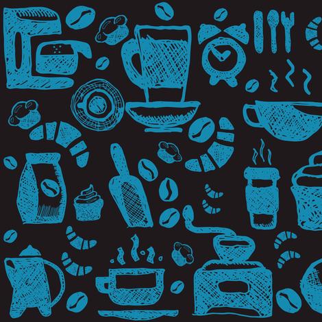 coffee_blue fabric by bruxamagica on Spoonflower - custom fabric