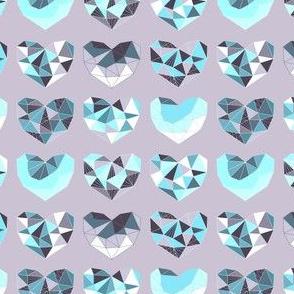 Geometric Hearts (violet & ice variant)