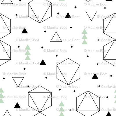 Pastels and black and white geometric scandinavian style abstract fabric triangle mint