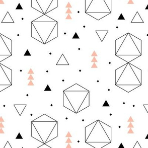 Pastels and black and white geometric scandinavian style abstract fabric triangle coral peach
