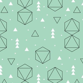 Cute mint geometric scandinavian style abstract fabric for cool kids