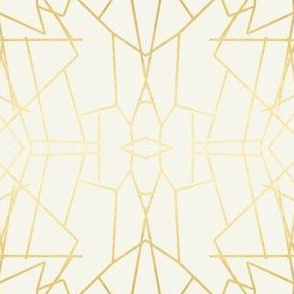 Geometric Angles Gold Cream Ivory Wallpaper