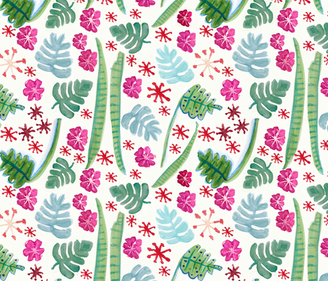 Tropical Watercolor Flora fabric by pixabo on Spoonflower - custom fabric