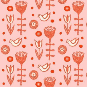 Folksy Flowers and Birds Coral and Pink