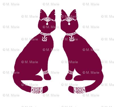 Block Print - Regal Cat (red variant)
