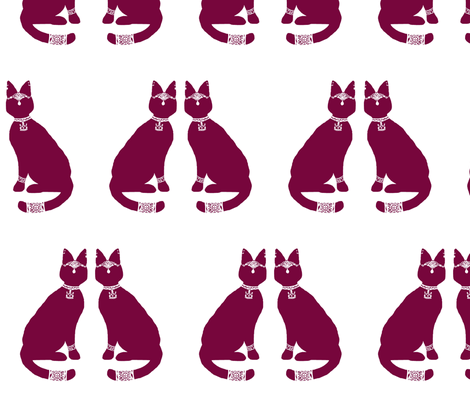 Block Print - Regal Cat (red variant) fabric by mmarie-designs on Spoonflower - custom fabric