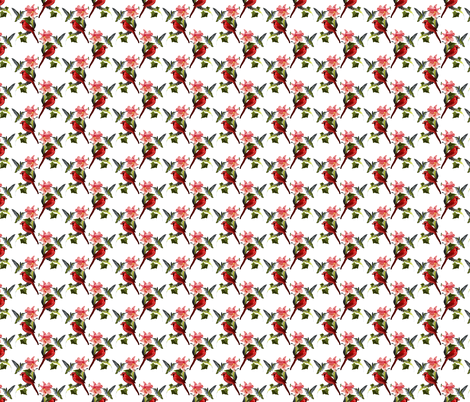Hummingbird and Cardinal with Pink Lily and Ivy on White fabric by anderson_designs on Spoonflower - custom fabric