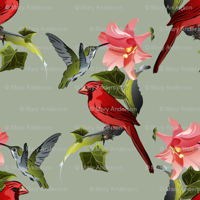 Hummingbird and Cardinal with Pink Lily and Ivy on Green