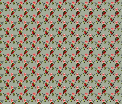 Hummingbird and Cardinal with Pink Lily and Ivy on Green fabric by anderson_designs on Spoonflower - custom fabric
