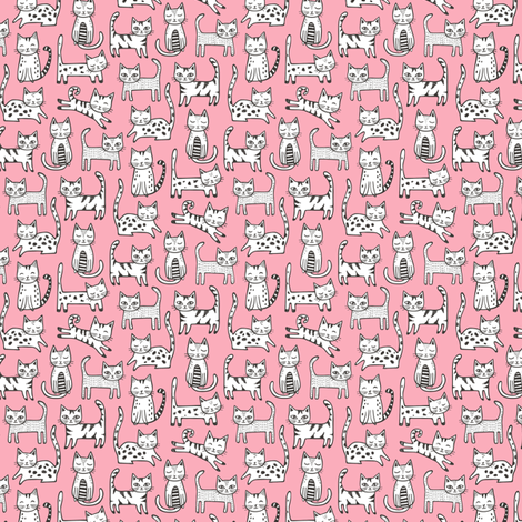 Cats on Pink Tiny Small fabric by caja_design on Spoonflower - custom fabric