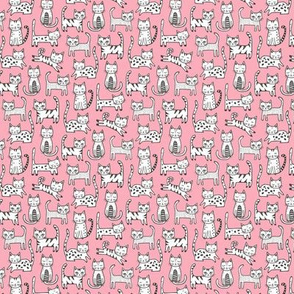 Cats on Pink Tiny Small