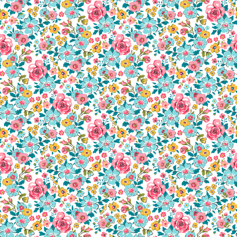 Ditsy Flowers Floral Tiny Small fabric by caja_design on Spoonflower - custom fabric