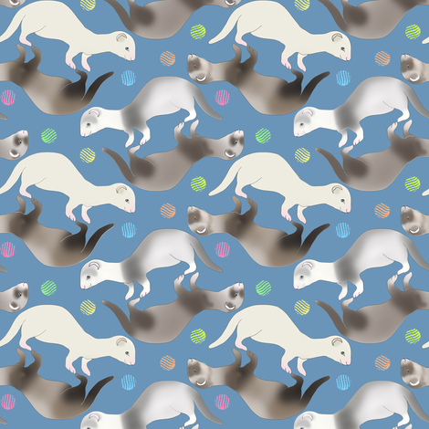 Ferrets Having A Ball 1 fabric by eclectic_house on Spoonflower - custom fabric