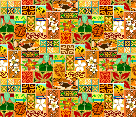 Hawaiian motif 004 fabric by madtropic on Spoonflower - custom fabric
