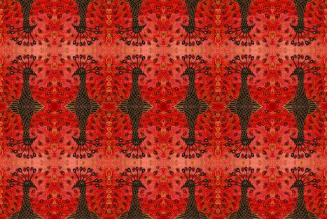Vermillion Peacock fabric by gollybard on Spoonflower - custom fabric