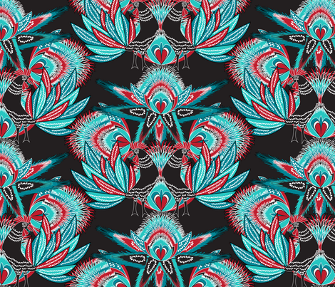 cockerel on black fabric by kociara on Spoonflower - custom fabric