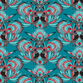 Rooster on turquoise