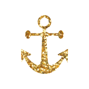 Anchors Aweigh in Gold Glitter on White / Mini