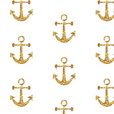 Anchors Aweigh In Gold Glitter On White Mini Fabric By Willowlanetextiles Spoonflower