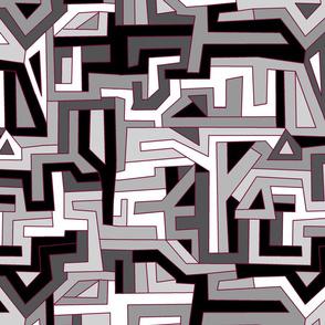 Maze Shapes Maroon