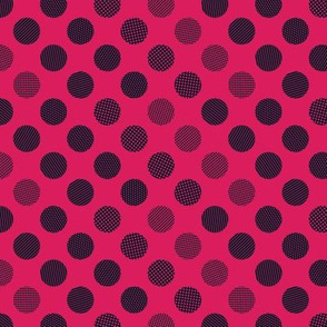 Hot Pink & Navy Patterned Dots