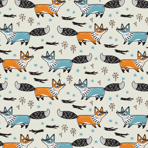 Foxes fabric by penguinhouse on Spoonflower - custom fabric