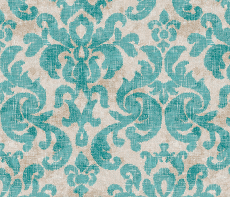 Vintage Damask in Aqua fabric by willowlanetextiles on Spoonflower - custom fabric