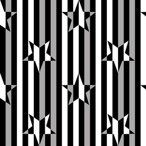Stars and Stripes Black White Grey